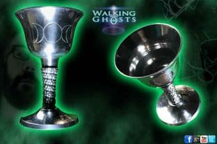 Triple Moon Goddess Silver Metal Chalice Goblet Cup Altar Wicca Witchcraft Pagan
